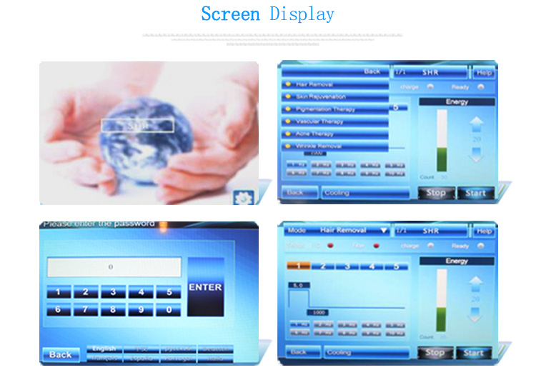 Screen of IPL hair removal machine