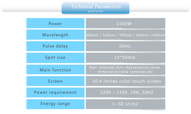 Parameters of IPL hair removal machine
